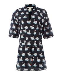 Iconic black & white swan shirt dress