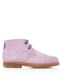 Wander lilac leather lace-up boots