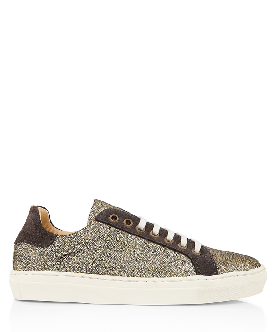 Pespace gold-tone leather sneakers Sale - Penelope Chilvers