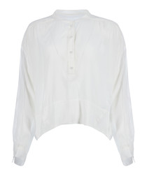 Gail Lightweight Sheer White Henley Top