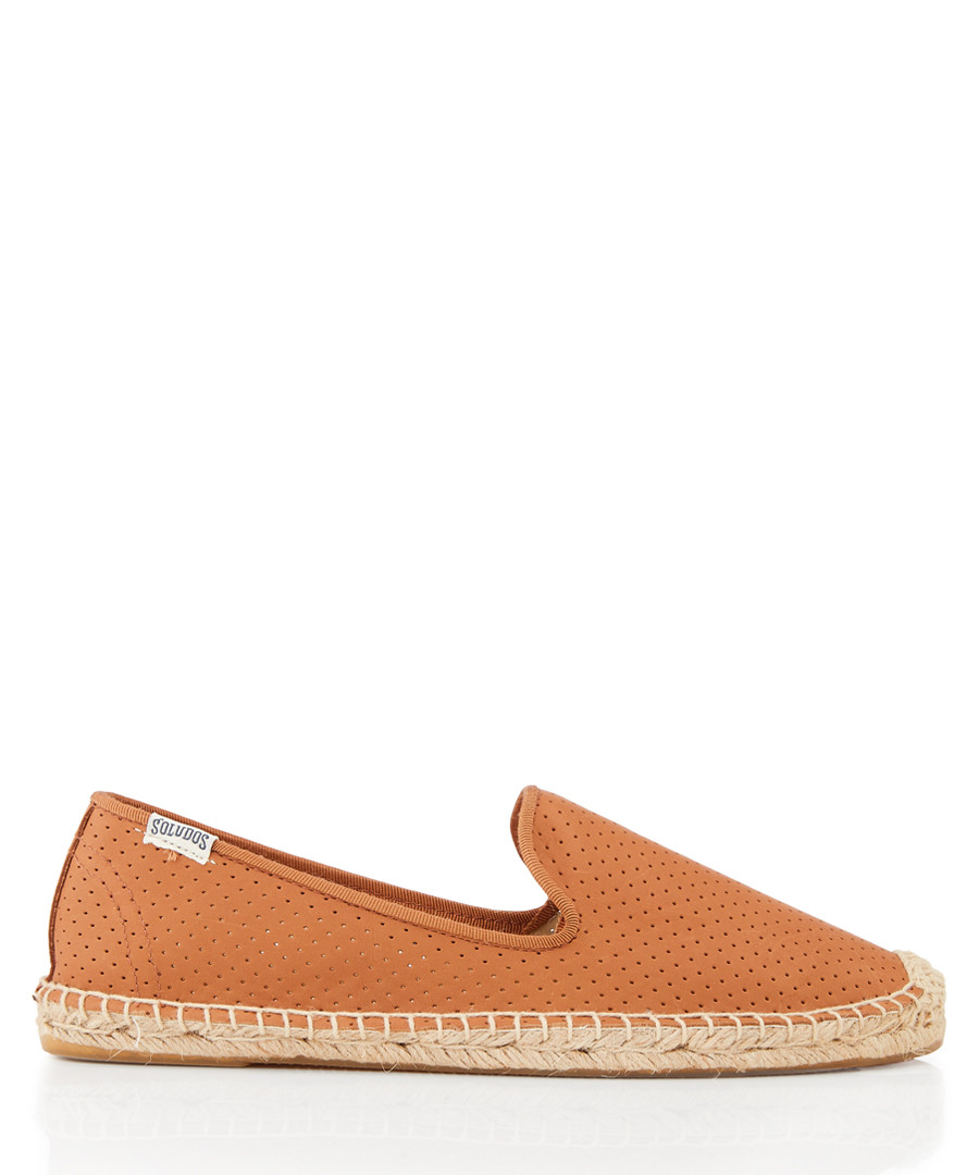 Smoking leather perforated espadrilles Sale - SOLUDOS