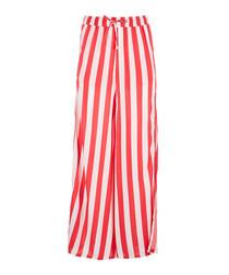Chloe coral & white split-leg trousers