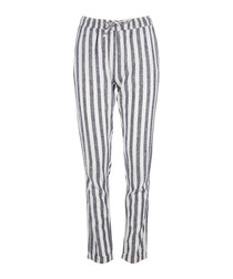 Ella navy stripe trousers