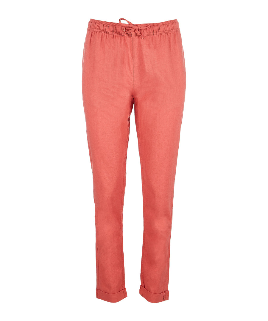 Ella coral linen & cotton trousers Sale - Onia