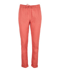Ella coral linen & cotton trousers