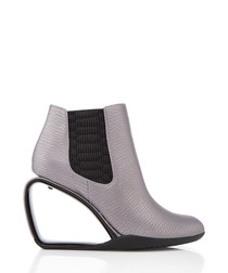 Step Mobius gunmetal leather ankle boots