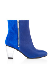 Icon sax suede & leather mid-heel boots
