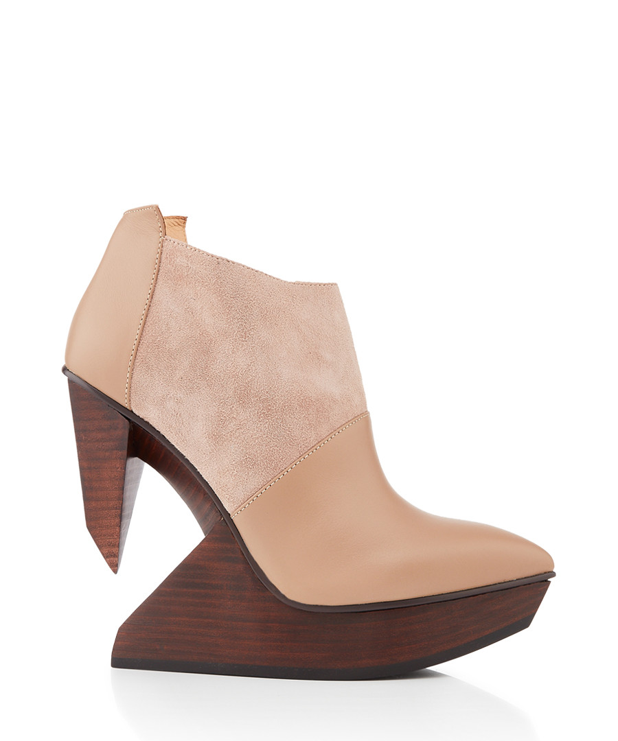 Edge blush leather & wood ankle boots Sale - United Nude