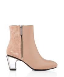 Icon blush leather & metal ankle boots
