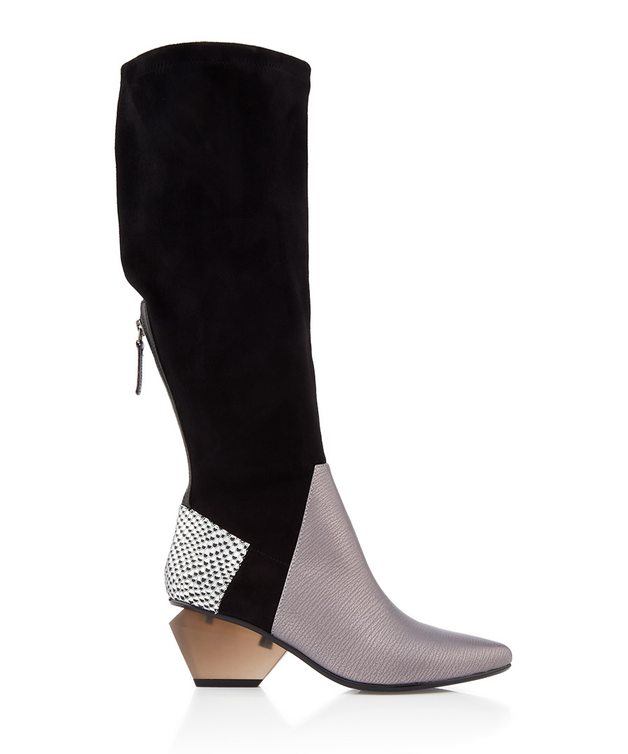 Jacky multi-panel leather & suede boots Sale - United Nude