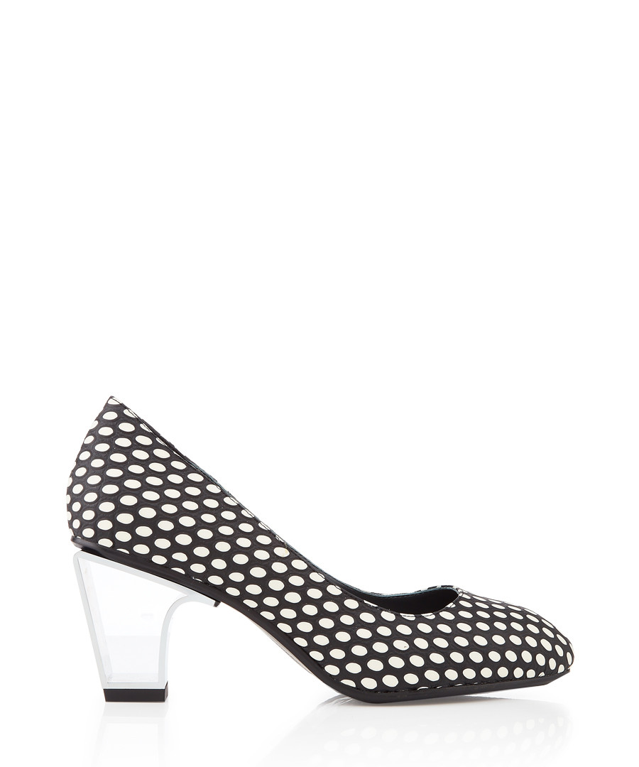 Icon monochrome leather & metal heels Sale - United Nude