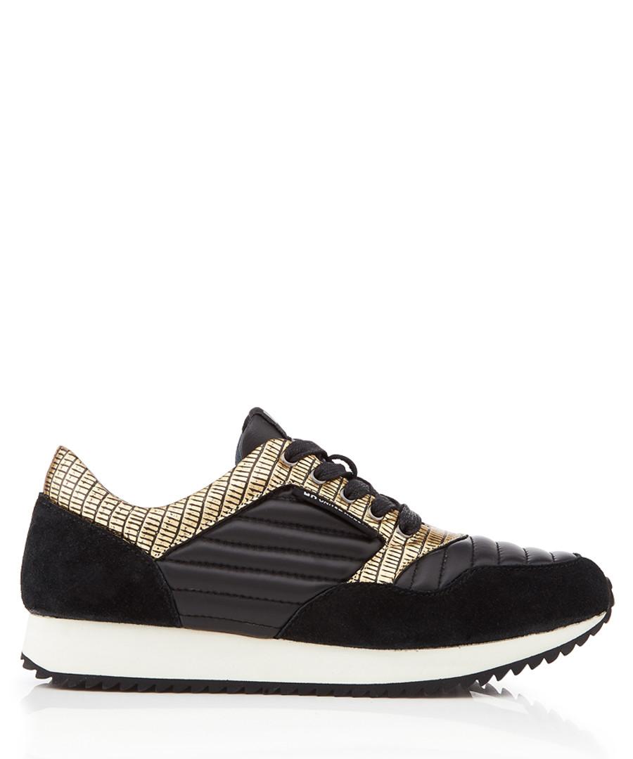 Runner black & gold-tone panel sneakers Sale - United Nude