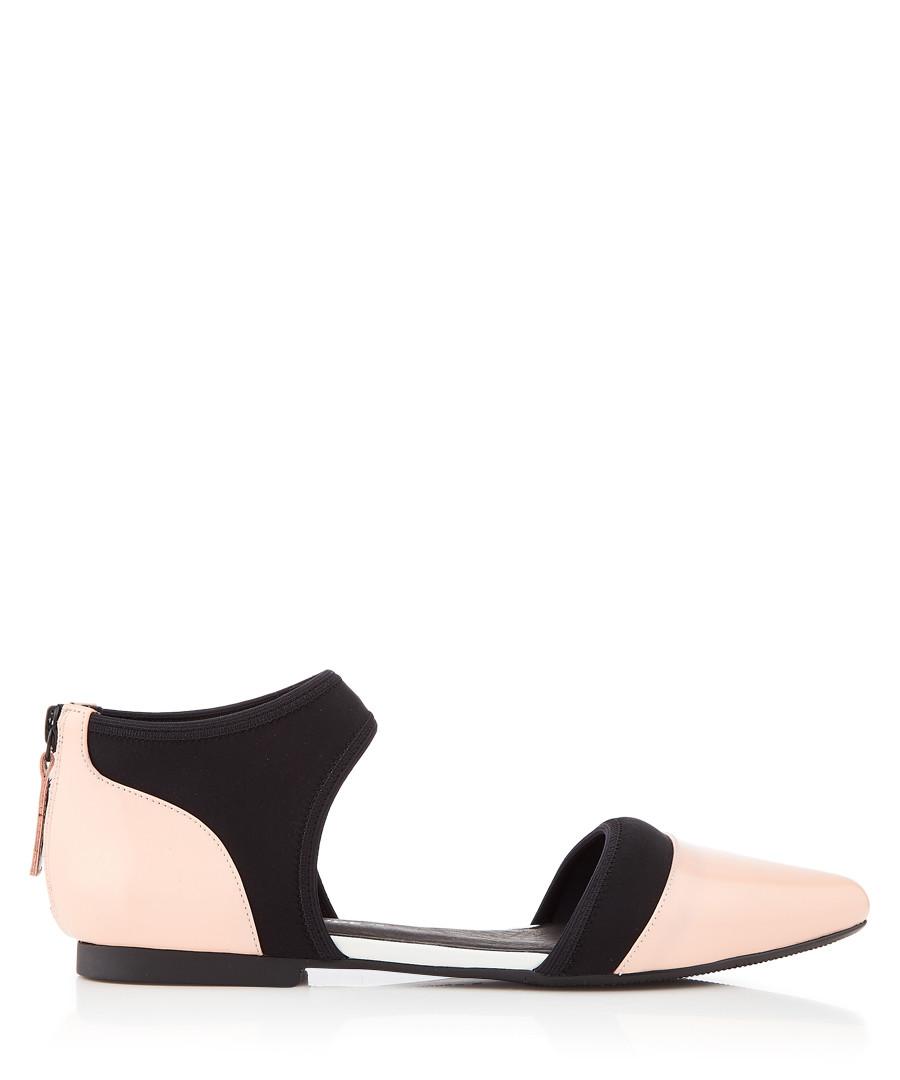 Nua Dorsy pink leather & cotton flats Sale - United Nude