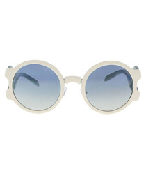 Ivory & blue round sunglasses