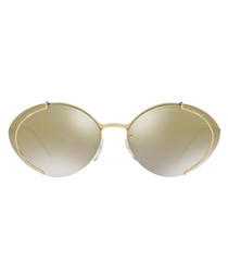 Gold-tone oval sunglasses