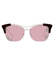 Silver-tone & violet square sunglasses
