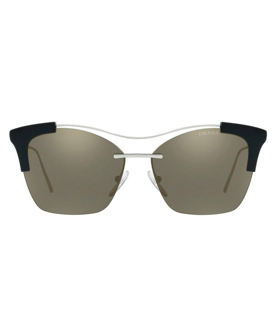 Silver-tone & brown square sunglasses Sale - Prada