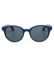 Blue & grey oval sunglasses