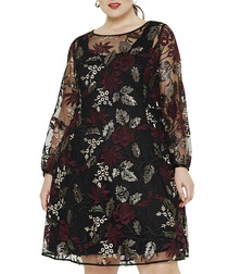 Debra black & red sheer floral dress