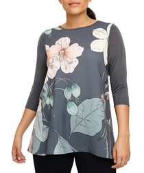 Talia grey floral 3/4 sleeve jumper