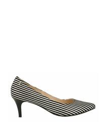 Monochrome leather stripe heels
