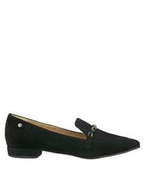 Black suede horsebit loafers