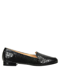 Black leather scale loafers