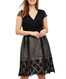 Romola black lace detail V-neck dress