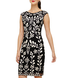 Emelia black brocade sleeveless dress