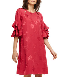 Dena red floral ruffle-sleeve dress