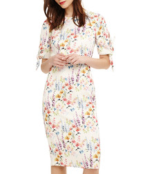 Bella ivory & floral short sleeve dress