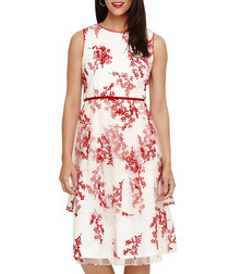 Francine ivory & floral sleeveless dress