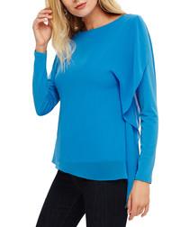 Camille blue cascade long sleeve top