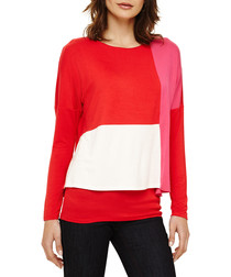 Cacey red long sleeve panel top
