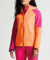 Pink & orange hooded waterproof jacket