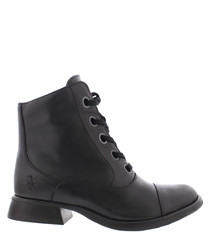 Albertine black leather ankle boots