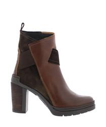 Gwyn tan & brick leather heeled boots