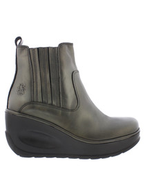 Janine bronze leather wedge ankle boots