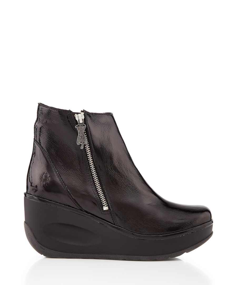 Janine black leather wedge boots Sale - fly london