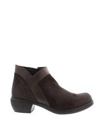 Myla espresso leather ankle boots
