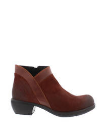 Myla brick leather ankle boots
