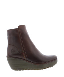 Tex brown leather wedge boots
