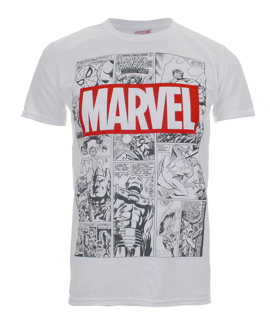 Men's Marvel white print T-shirt Sale - marvel
