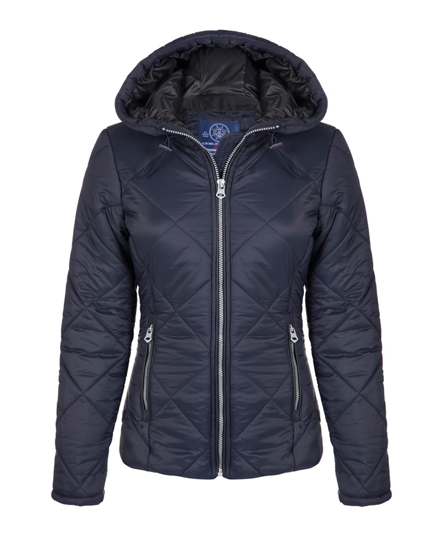 Navy hooded coat Sale - giorgio di mare