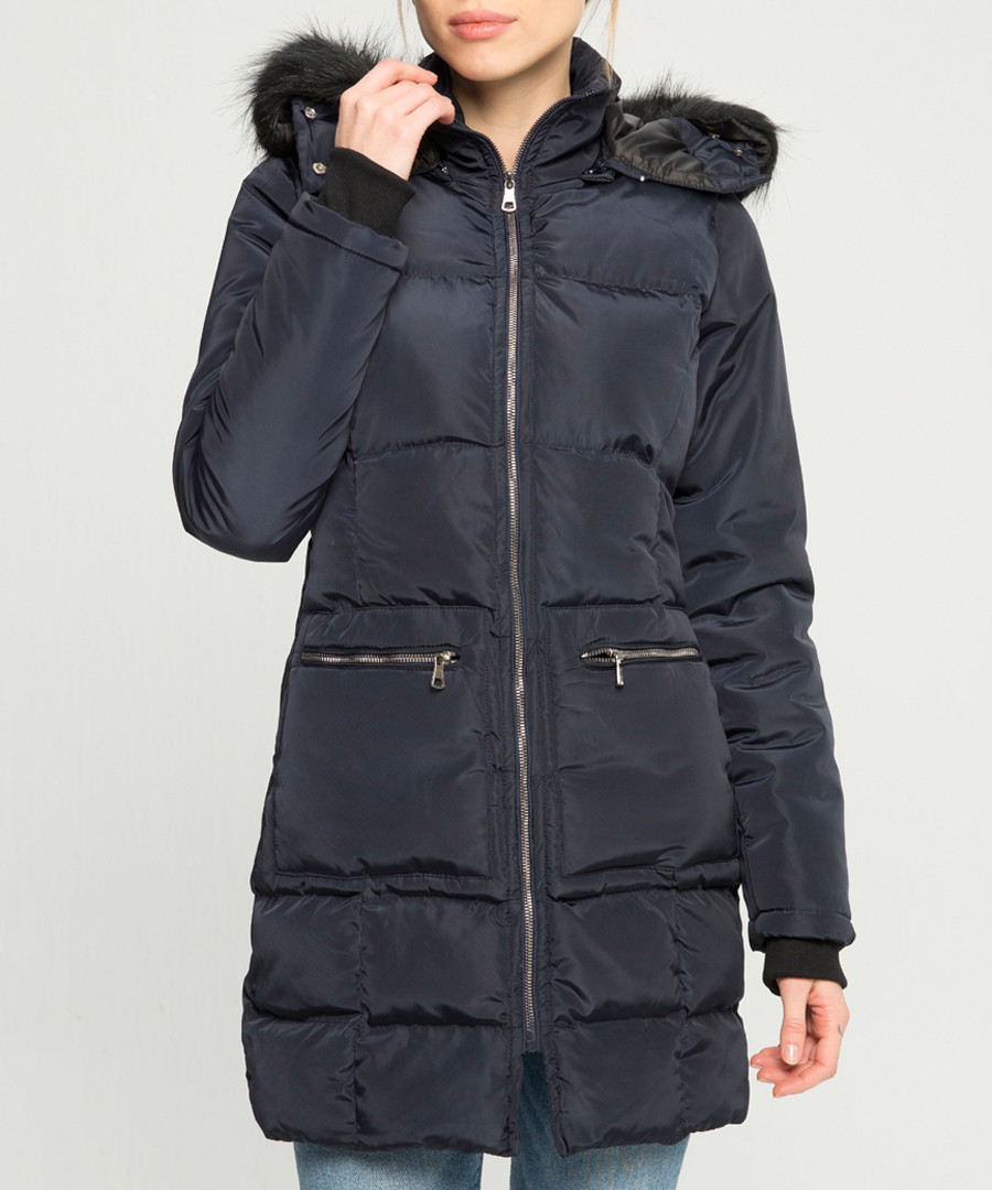 Navy padded hooded coat Sale - giorgio di mare