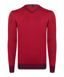 Crimson pure cotton V-neck jumper
