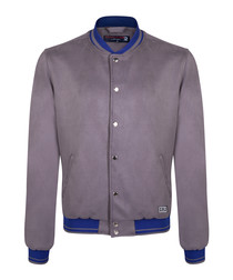 Grey & blue button bomber jacket