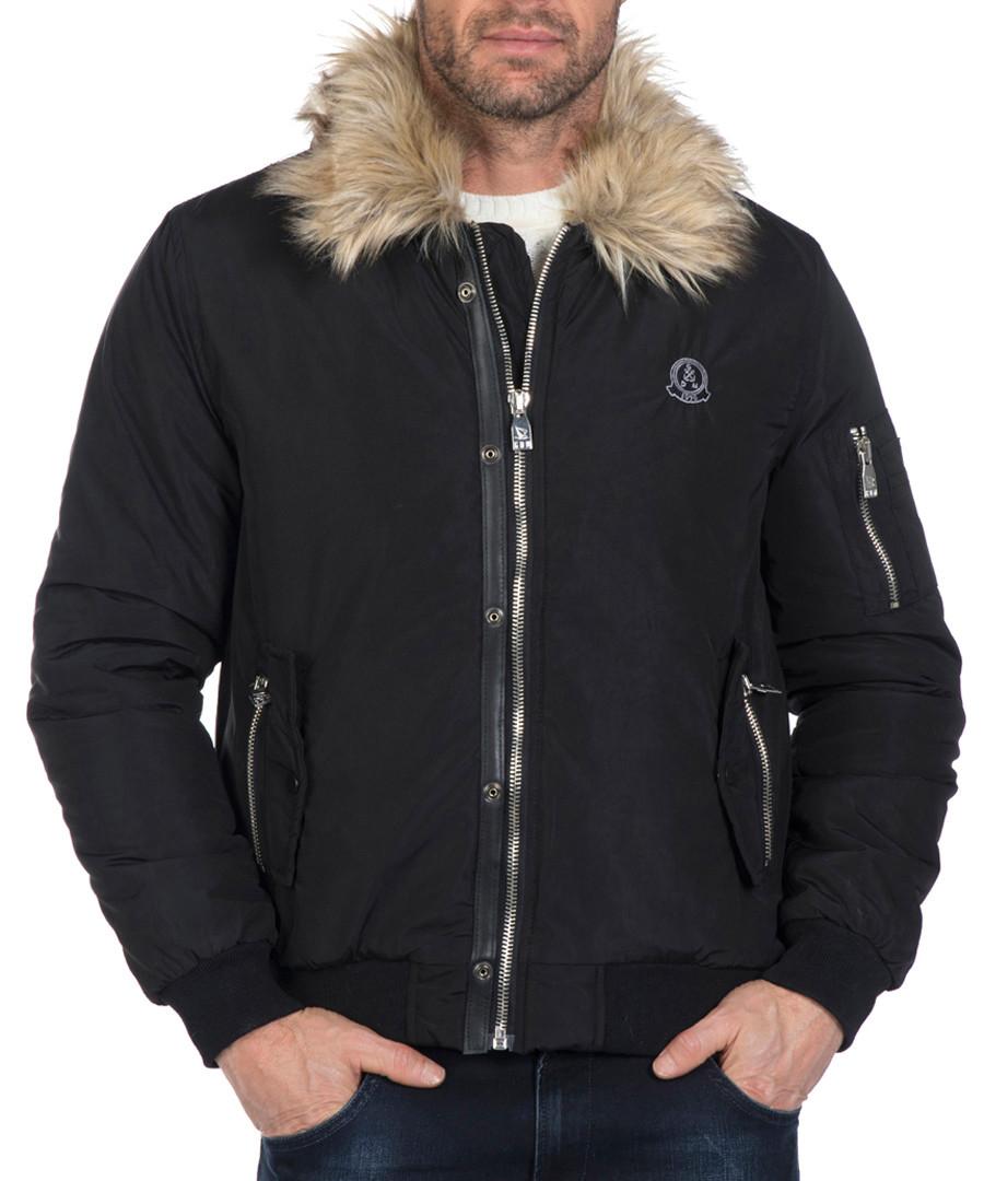 Black faux-fur collar jacket Sale - giorgio di mare