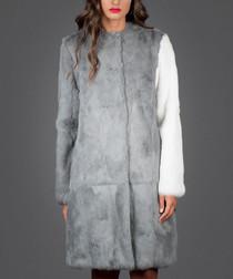 Whitney pure rabbit fur contrast coat