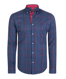 Navy & red pure cotton shirt